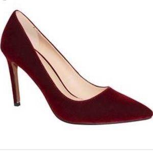 WWW red burgundy velvet pointed toe pumps